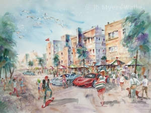 Watercolor painting of scene along Ocean Drive in South Beach, Florida by Jo Myers-Walker