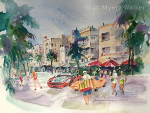 Preliminary watercolor painting of Ocean Drive in South Beach, Florida by Jo Myers-Walker