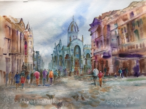 Watercolor painting of view of the Royal Mile in Edinburgh by Jo Myers-Walker