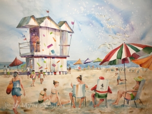 Watercolor painting of beach scene in South Beach, Florida by Jo Myers-Walker