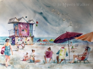 Preliminary watercolor painting of beach scene in South Beach, Florida by Jo Myers-Walker