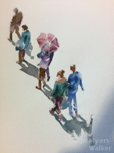 Watercolor painting of pedestrians viewd from above by Jo Myers-Walker