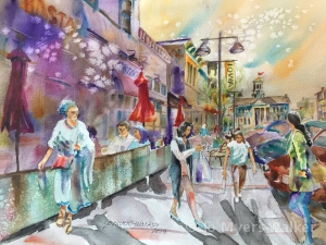 Watercolor street scene of Iowa Avenue in downtown Iowa City by Jo Myers-Walker