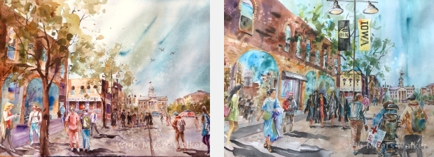 Two watercolor paintings by Jo Myers-Walker of Iowa Avenue in Iowa City busy with pedestrians including recent college grads