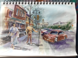 Watercolor sketchbook showing scene of Iowa Avenue in Iowa City by Jo Myers-Walker