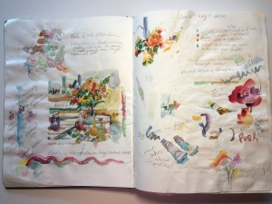 Pages from Jo Myers-Walker's sketchbook with floral watercolor paintings and notes