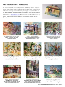 Page showing designs of Abundant Homes notecards with images from watercolor paintings by Jo Myers-Walker