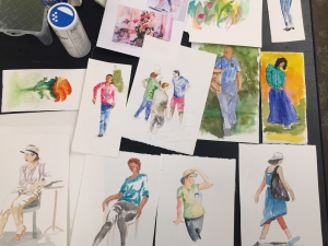 Various students' work from a watercolor workshop
