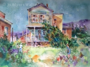 Backyard Chickens, watercolor painting by Jo Myers-Walker
