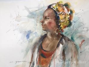 Chandra, watercolor portrait of a woman in profile by artist Jo Myers-Walker