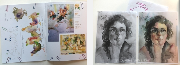 Pages from class materials for a watercolor class by artist Jo Myers-Walker