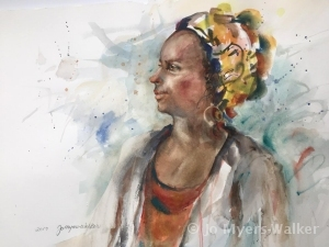 Patience, watercolor portrait of a woman in profile by artist Jo Myers-Walker