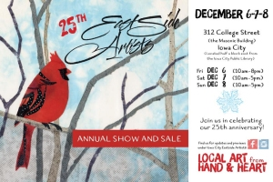 Postcard announcing the 2019 Eastside Artists Show and Sale in Iowa City
