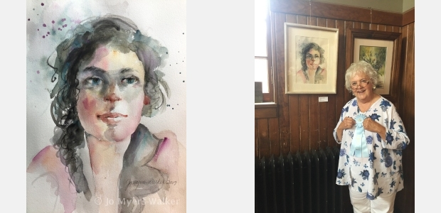 Emma, watercolor portrait by Jo Myers-Walker, and a photo of Jo posed next to the painting at IWS 2019 exhibition