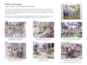 Thumbnail of page showing card designs of Family and Friends notecard collection by Jo Myers-Walker