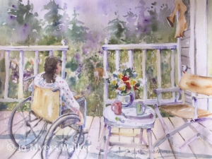 Watercolor painting by Jo Myers-Walker showing woman on porch looking over scenic backyard with deer