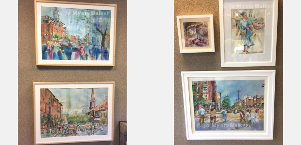 Several watercolor paintings by artist Jo Myers-Walker are shown on exhibit at Beréskin Gallery & Art Academy in Bettendorf, Iowa
