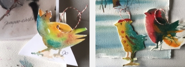 Paper ornaments with designs of watercolor sketches of chickens by artist Jo Myers-Walker
