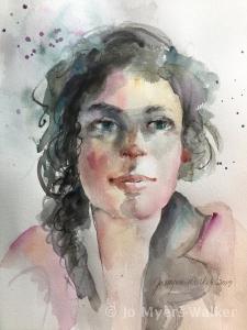 Emma, watercolor portrait of a young woman by artist Jo Myers-Walker