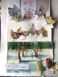 Watercolor sketches of birds by Jo Myers-Walker including several ornaments made from the paintings