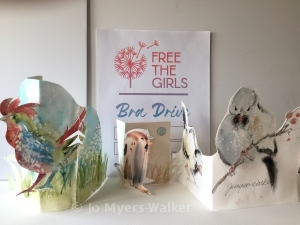 Three dimensional cards with watercolor images by Jo Myers-Walker