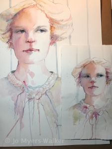 "Watercolor painting ""Elsie"" based on the grandmother of artist Jo Myers-Walker"
