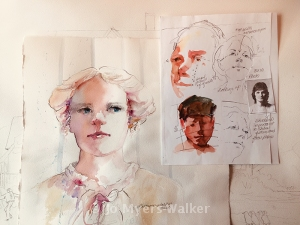 Sketches showing portrait painting concepts by Jo Myers-Walker
