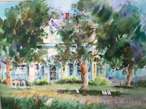 Watercolor painting of white house in rural Illinois by artist Jo Myers-Walker
