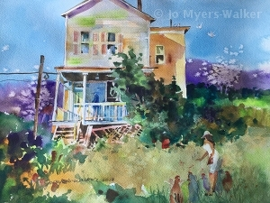 Backyard Chickens, watercolor painting of backyard scene with woman feeding chickens by artist Jo Myers-Walker