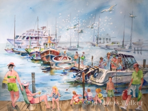 Gone Fishing, watercolor painting of Florida scene by artist Jo Myers-Walker