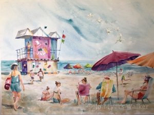 South Beach, watercolor painting of Florida scene by artist Jo Myers-Walker