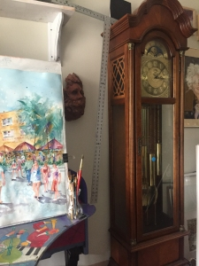 Grandmother clock in the studio of artist Jo Myers-Walker