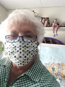 Artist Jo Myers-Walker wearing a homemade fabric face mask