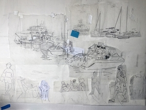 Sketches for a painting of family members at a Florida dock by artist Jo Myers-Walker