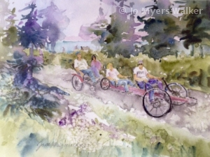 Watercolor painting by artist Jo Myers-Walker showing two styles of tandem bicycle ridden along a bike trail