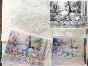 Progression of a watercolor painting of waterside deck with chairs and table by artist Jo Myers-Walker