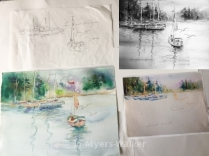 Progression of a watercolor painting of sailboats on a lake by artist Jo Myers-Walker