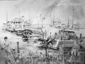 Value study of a dock scene by artist Jo Myers-Walker