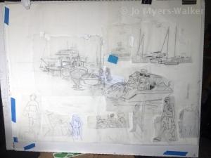 Sketch of a dock scene by artist Jo Myers-Walker