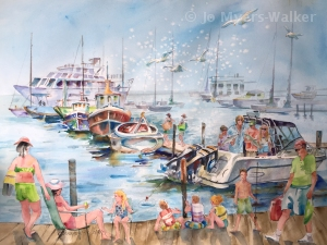 Watercolor study of a family at dockside by artist Jo Myers-Walker