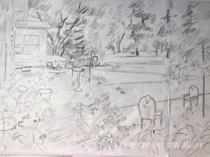 Sketch of a backyard garden scene
