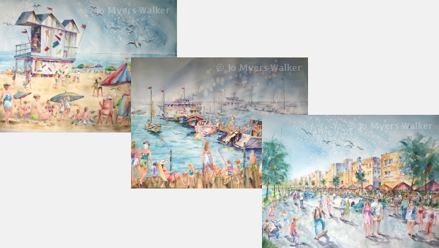 Three finished watercolor scenes of South Beach by artist Jo Myers-Walker