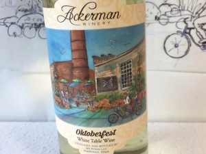 Label on Ackerman Winery's 2020 Oktoberfest wine with artwork by Jo Myers-Walker