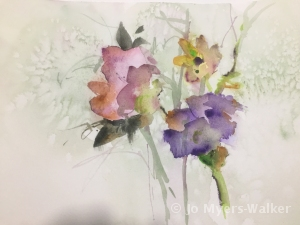 Watercolor sketch of flowers by artist Jo Myers-Walker
