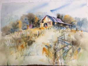 Watercolor painting of a barn seen across a field in autumn by artist Jo Myers-Walker