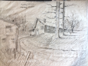 Pencil sketch of a house in the countryside by artist Jo Myers-Walker