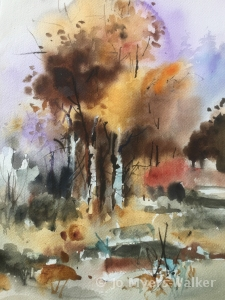 Watercolor painting of trees in fall by artist Jo Myers-Walker