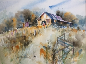 Farmer, watercolor painting of farm lane and fence with barn and small figure in the distance by artist Jo Myers-Walker