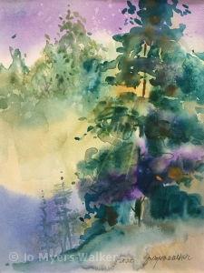 Light From Within, watercolor painting of tall trees with glowing light by artist Jo Myers-Walker