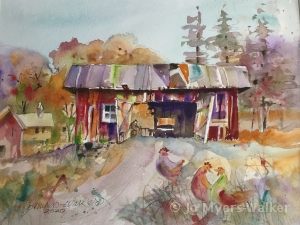 Red Barn, watercolor painting of barn with doors open and chickens in foreground by artist Jo Myers-Walker